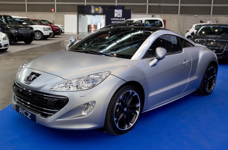 VALENCIA, SPAIN - DECEMBER 5: A 2011 Peugeot RCZ Sports Coupe at the 2011 Valencia Car Show on December 5, 2011 in Valencia, Spain.