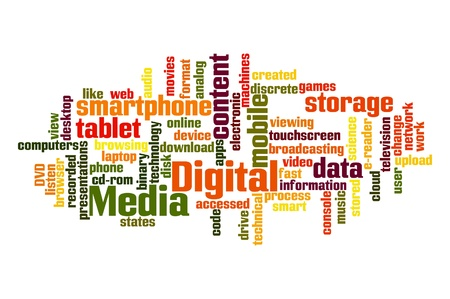 word game: Digital Media Word Cloud Stock Photo