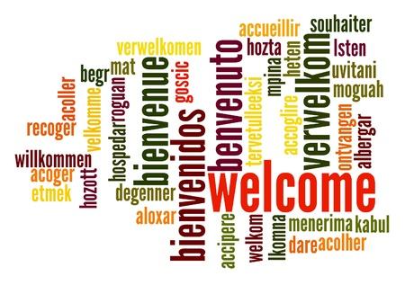 bienvenida: Bienvenido nube de palabras en diferentes idiomas Foto de archivo