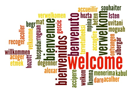 Welcome word cloud in different languages photo
