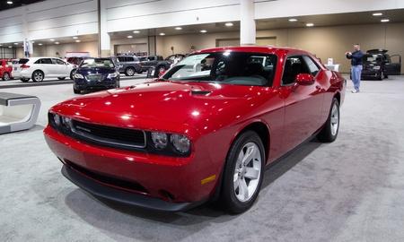 challenger: JACKSONVILLE, FLORIDA-FEBRUARY 18: A 2012 Dodge Challenger SXT at the Jacksonville Car Show on February 18, 2012 in Jacksonville, Florida.