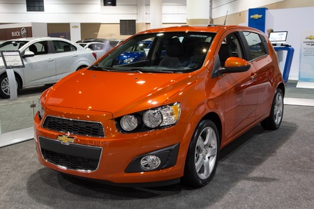 sonic: JACKSONVILLE, FLORIDA-FEBRUARY 18: A 2012 Chevy Sonic Hatchback at the Jacksonville Car Show on February 18, 2012 in Jacksonville, Florida.