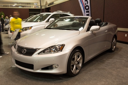lexus: JACKSONVILLE, FLORIDA-FEBRUARY 18: A 2012 Lexus IS Convertible at the Jacksonville Car Show on February 18, 2012 in Jacksonville, Florida.
