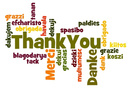 Köszönjük Szó, felhő, különböző nyelveken Stock fotó - 13393564