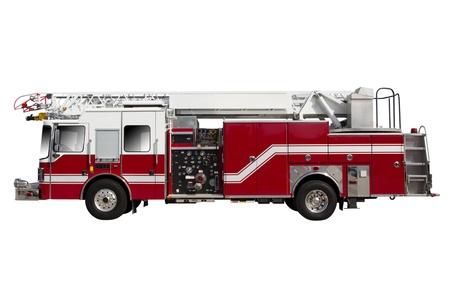 voiture de pompiers: Camion de pompiers rouge isolé sur blanc