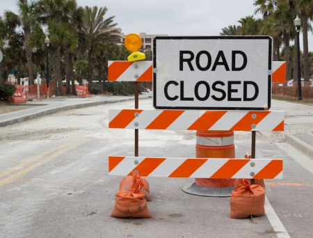 entrance sign: Road Closed Sign on Street Repair Stock Photo