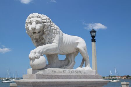 Lion Statue at the Bridge of Lions in St Augustine, FL, USA. photo