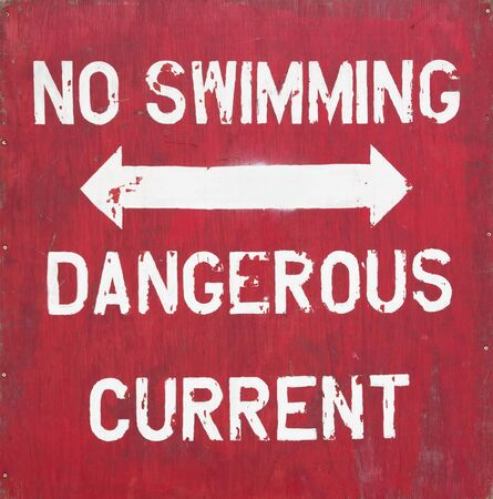 Old Red Wooden No Swimming Sign Stock Photo - 13782536