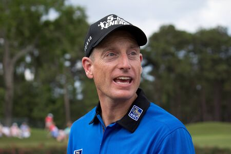 PONTE VEDRA BEACH, FL-MAY 09: Jim Furyk at The Players Championship, PGA Tour, on practice day May 09, 2012 at The TPC Sawgrass, Ponte Vedra Beach, Florida, USA. Stock Photo - 13860678