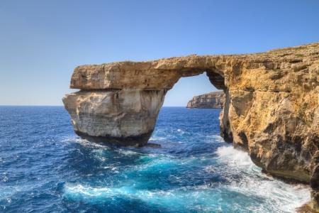 malta: Azure Window, famous stone arch on Gozo island, Malta