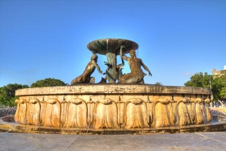 The Triton Fountain in the City Gate Square of Valletta, Malta. Stock Photo