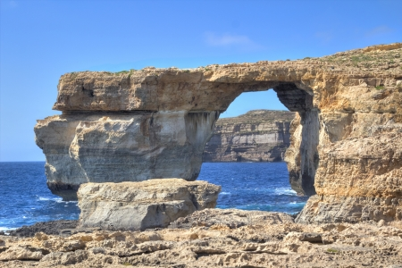 rock arch: Azure Window, famous stone arch on Gozo island, Malta
