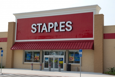 JACKSONVILLE, FLORIDA - APRIL 8: A Staples retail store on April 8, 2012 in Jacksonville, Florida. Staples is an American office supply company founded in 1986, and in 2011 had annual sales of $25 billion, ranking second in the world in eCommerce sales.