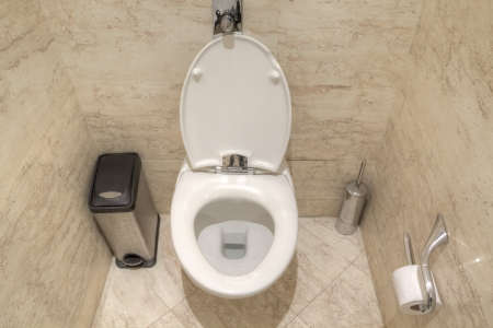 Bathroom toilet with lid open. photo