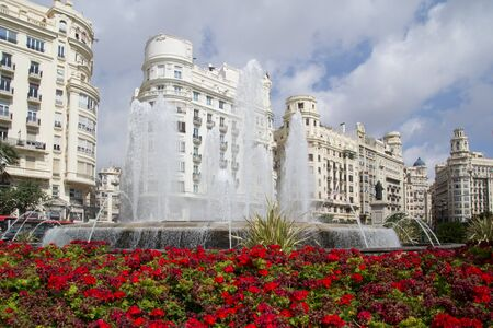 generality: The Valenica, Spain Fountain in the main square. Stock Photo