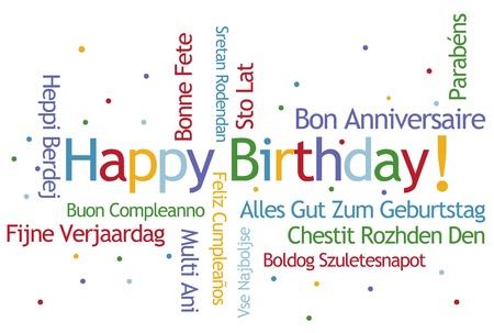 idiomas: Feliz Cumplea�os Nube de Word en diferentes idiomas Foto de archivo