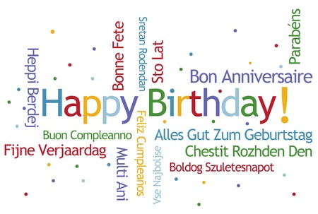 Happy Birthday Word Cloud in Different Languages