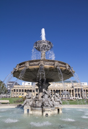 schloss: Fountain at Castle Square in Stuttgart, Germany. Editorial