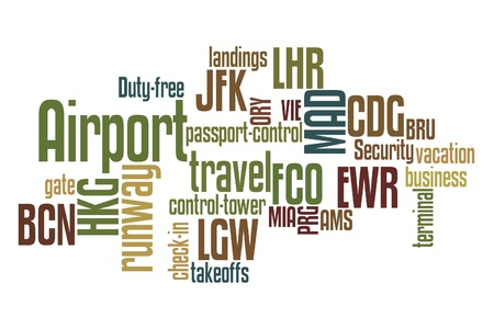 Airports word cloud with white background photo