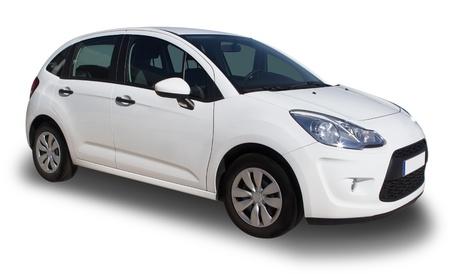 Une petite voiture familiale blanc
