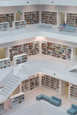 STUTTGART, GERMANY - AUGUST 18: The Stuttgart City Library on August 18, 2012 in Stuttgart, Germany.  The library, opened in October 2011, was designed by Yi Architects and has more than 500,000 books.