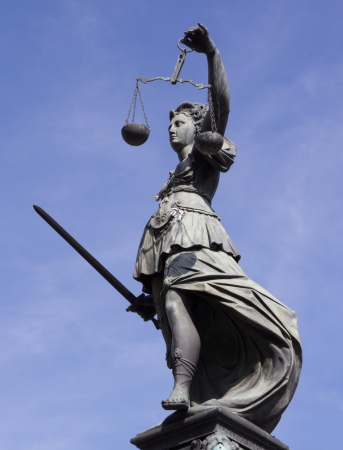 Statue of Lady Justice in front of the Romer in Frankfurt - Germany Stock Photo - 15131004