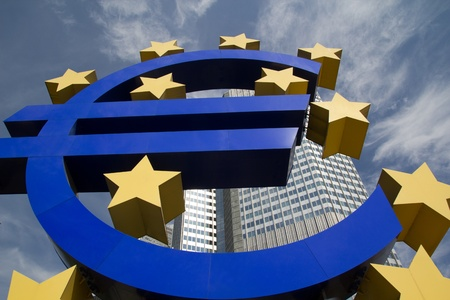 FRANKFURT, GERMANY - AUG 23: The Famous Big Euro Sign at the European Central Bank on August 23, 2012 in Frankfurt, Germany. The bank was established by the Treaty of Amsterdam in 1998. Stock Photo - 15132133