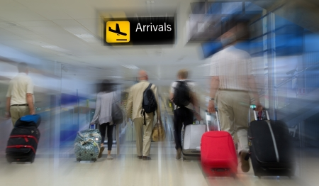 to queue: Airline passengers in the airport Stock Photo