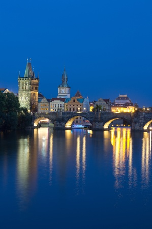The Charles Bridge in early evening in Prague, Czech Republic.  photo