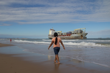 VALENCIA, SPAIN - SEP 30: The cargo ship Celia of St Johns runs aground at the El Saler Beach after a big storm on September 30, 2012 in Valencia, Spain. Editorial