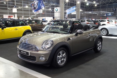 Valencia, Spain - December 7 - A 2012 Mini One at the Valencia Car Show on December 7, 2012 in Valencia, Spain.