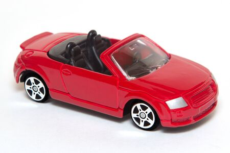 Red Toy Car with white background photo