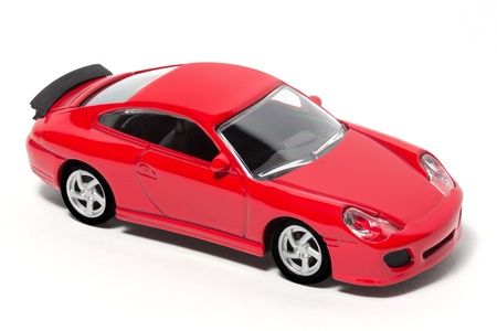 scale model: Red Toy Car with white background
