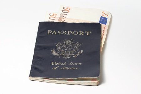 US Passport with Euro Notes Stock Photo - 17333911