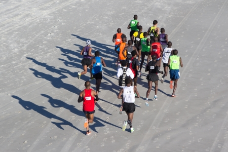 JACKSONVILLE, FLORIDA - FEBRUARY 17: The lead runners on the beach leg of the 6th Annual 26.2 with Donna Marathon on February 17, 2013 in Jacksonville, Florida.
