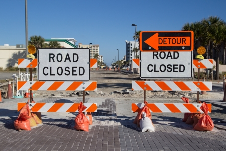hassle: Road Closed Sign on Street Repair Stock Photo