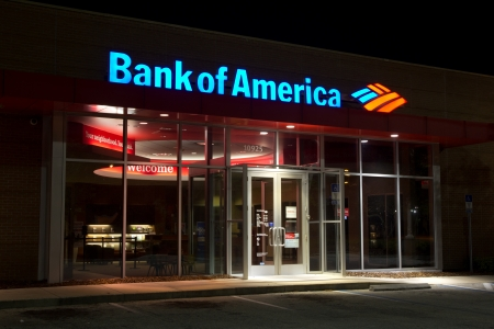 foreclose: JACKSONVILLE, FL - MAR 30: A Bank of America branch bank at night located in Jacksonville, Florida on March 30, 2013. Bank of America is the second largest bank holding company in the US by assets.
