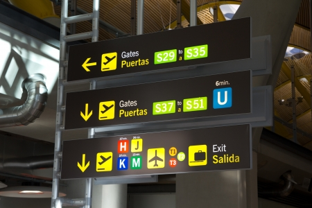 MADRID, SPAIN - FEBRUARY 6: A gate sign at the Barajas airport on February 6, 2013 in Madrid, Spain. Madrid-Barajas is Europe´s fourth busiest airport serving over 49 million passengers per year. Stock Photo - 19298429