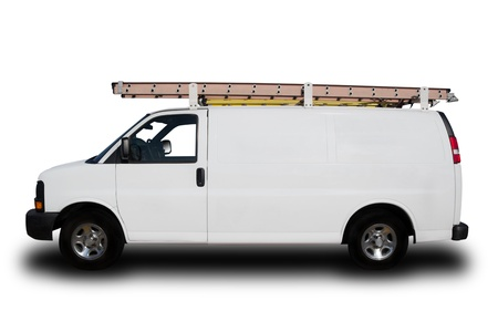 delivery service: A Service Repair Van Isolated on White Stock Photo