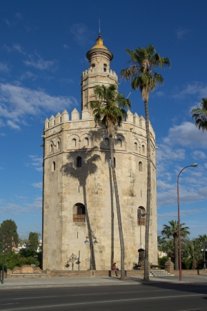 fortify: SEVILLE, SPAIN - MAY 16: The Torre del Oro (Gold Tower) on May 16, 2013 in Seville, Spain. The tower was built in the 13th century to control access to Seville via the Guadalquivir River. Editorial