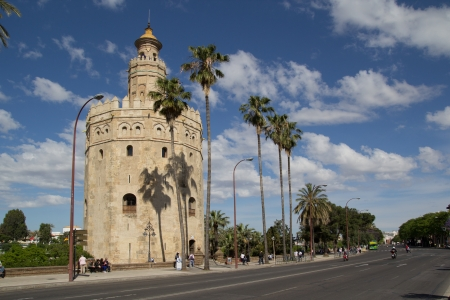 SEVILLE, SPAIN - MAY 16: The Torre del Oro (Gold Tower) on May 16, 2013 in Seville, Spain. A military watchtower built in the 13th century to control access to Seville via the Guadalquivir River.