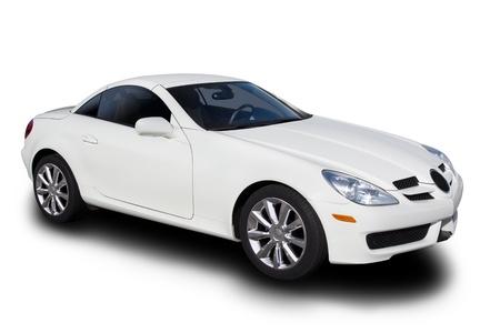 分離された白のスポーツカー