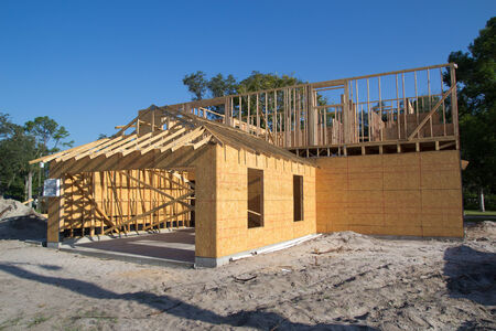 sprawl: JACKSONVILLE, FL-SEP 1: A new home under construction on September 1, 2013 in Jacksonville, Florida. New home sales fell 6.6 percent in September to a 354,000 annual rate, the weakest since April 2012.