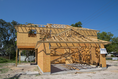 JACKSONVILLE, FL-SEP 15: A new home under construction on September 15, 2013 in Jacksonville, Florida. New home sales fell 6.6 percent in September to a 354,000 annual rate, the weakest since April 2012.