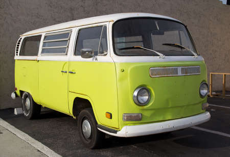 oldtimer: JACKSONVILLE, FLORIDA, USA - APRIL 18, 2012: VW Transporter T2 van parked in Jacksonville. The famous van is currently considered a classic oldtimer, popular with collectors. Editorial