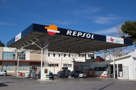 VALENCIA, SPAIN - JANUARY 21, 2014: A Repsol gas station in Valenica. Repsol is a Spanish multinational oil and gas company based in Madrid. It is the 15th largest petroleum refining company in the world.