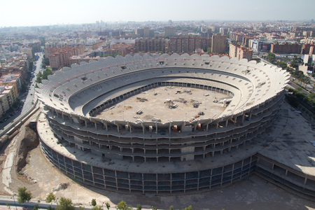 VALENCIA, SPAIN - JULY 4: The Valencia Football Stadium under construction on July 4, 2013 in Valencia, Spain. The stadium, when completed, will have a capacity of 74,000 seats.