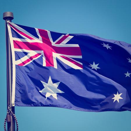 The Australian Flag with blue sky  photo