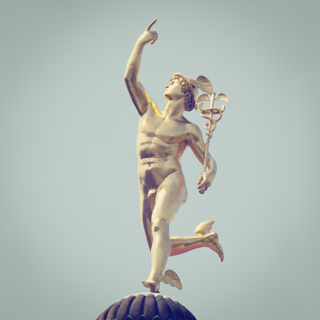 Roman God Mercury with retro style effect