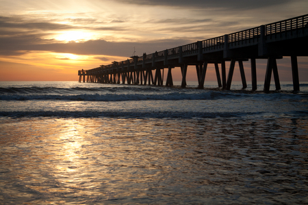 Jacksonville Beach, Fishing Pier in early morning.